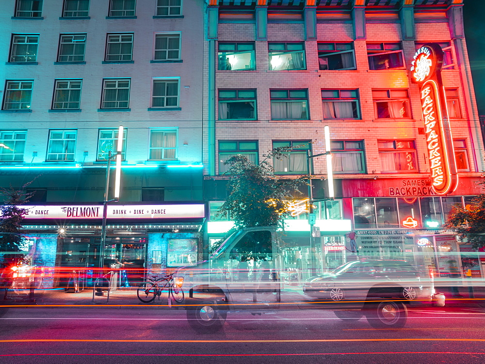 Neon lights at night on Granville Street, Vancouver, British Columbia, Canada, North America - 1276-84