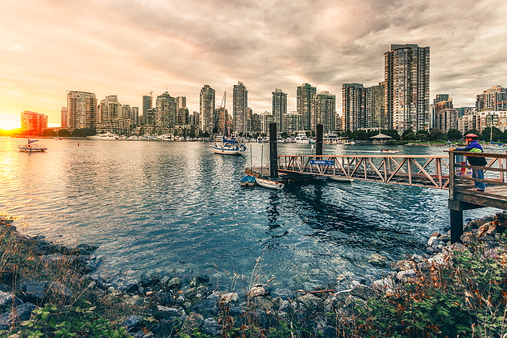 View of Vancouver skyline as viewed from Millbank, Vancouver, British Columbia, Canada, North America