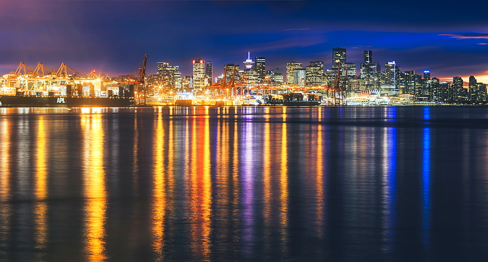 View of Vancouver skyline from North Vancouver at sunset, Vancouver, British Columbia, Canada, North America