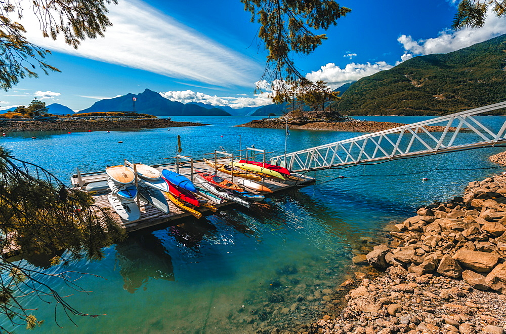 View of canoe boat dock in How Sound at Furry Creek off The Sea to Sky Highway near Squamish, British Columbia, Canada, North America - 1276-91