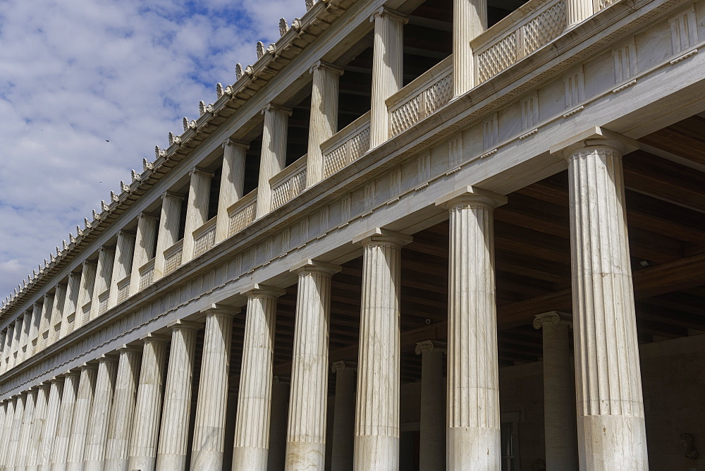 Facade detail of rebuilt ancient structure at Ancient Agora of Athens, currently a museum, Stoa of Attalos, Athens, Greece, Europe - 1278-14