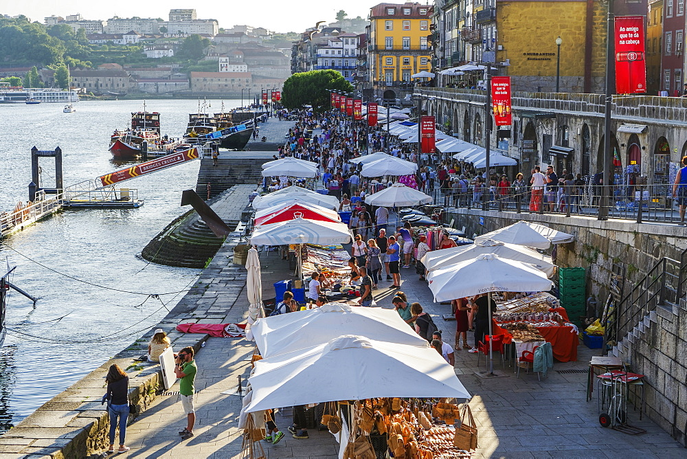 Open air street stalls and markets with cork and gift products on Douro River in Ribeira District, Porto, Portugal, Europe