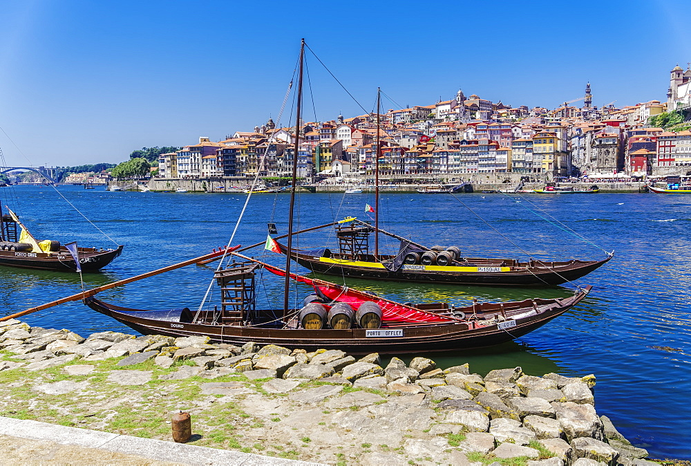 Ships used to carry port wine, moored in Vila Nova de Gaia on the Douro River, with Ribeira in the background, Porto, Portugal, Europe - 1278-178