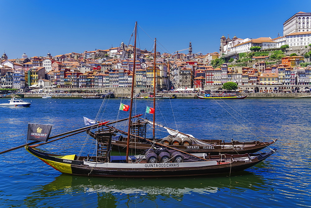 Ships used to carry port wine, moored in Vila Nova de Gaia on the Douro River, with Ribeira in the background, Porto, Portugal, Europe - 1278-179