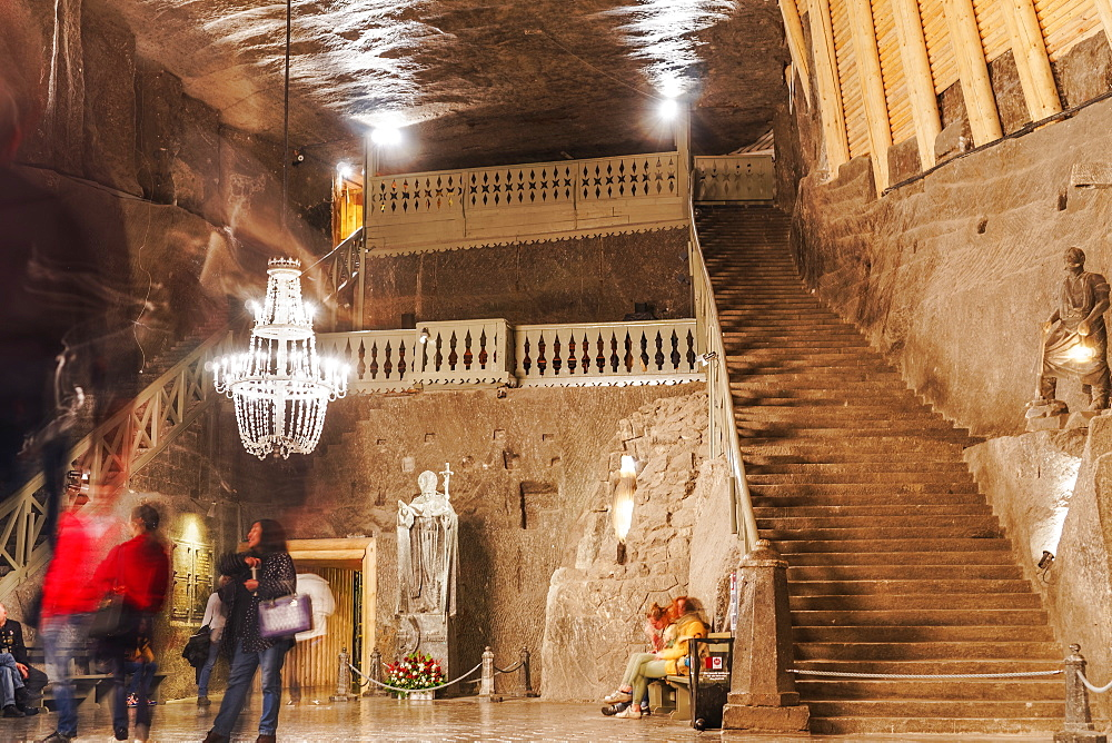 Wieliczka Salt Mine Tourist Route, Chapel of St. Kinga staircase in Kopalnia soli Wieliczka, UNESCO World Heritage Site, Krakow, Poland, Europe