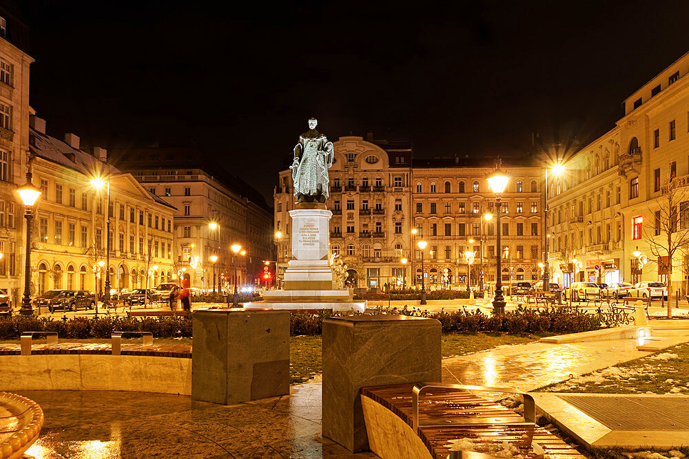Jozsef Nador Ter Palatine Square at night with buildings and Joseph Archduke of Austria and Hungary statue, Budapest, Hungary, Europe - 1278-242