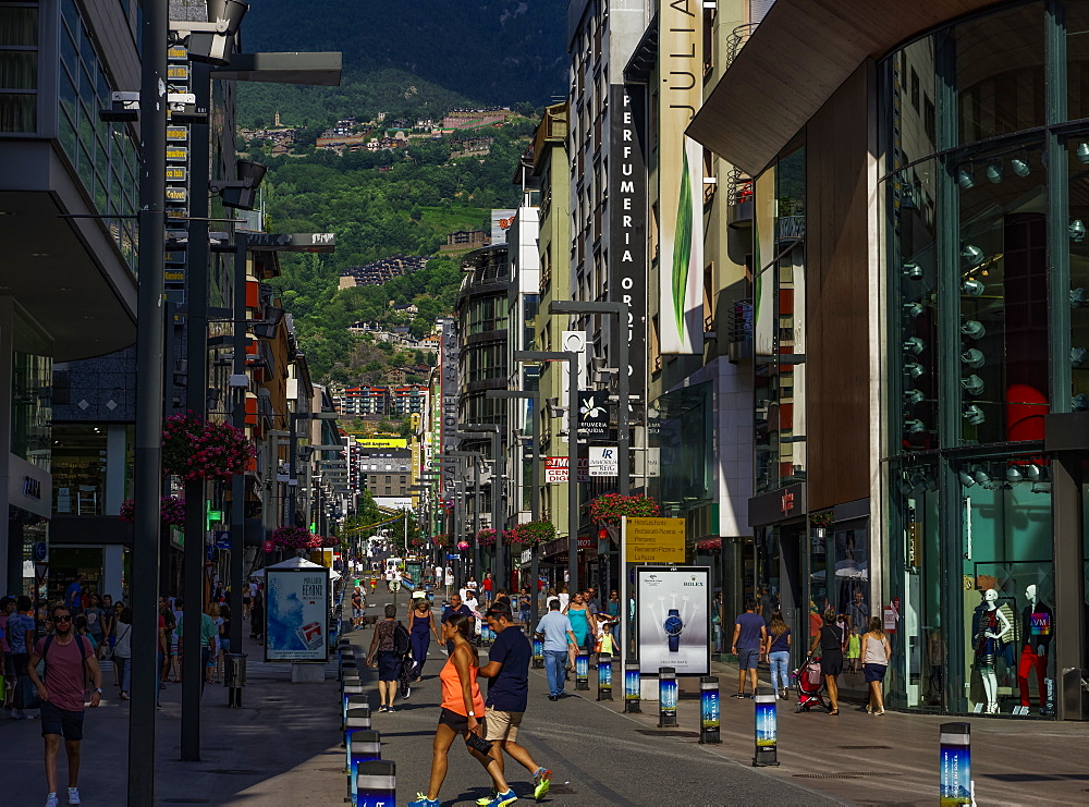Andorra market shops with crowd in the city center of Andorra la Vella, capital of the Principality of Andorra, Europe