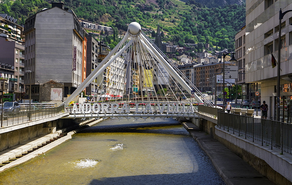 Andorra sign on a bridge over the River Gran Valira, Andorra la Vella, capital of the Principality of Andorra, Europe