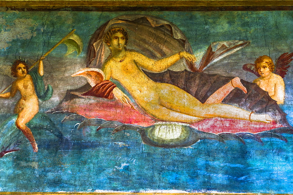 Casa di Venus fresco of Aphrodite lying on a conch shell with nymphs at House of D. Lucretii Satrii Valentes, Pompeii, UNESCO World Heritage Site, Campania, Italy, Europe