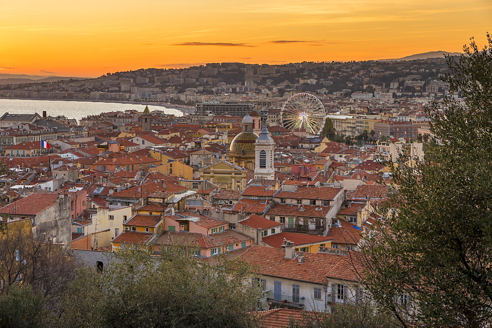 Elevated view from Castle Hill over the old town at sundown, Nice, Alpes Maritimes, Cote d'Azur, French Riviera, Provence, France, Mediterranean, Europe