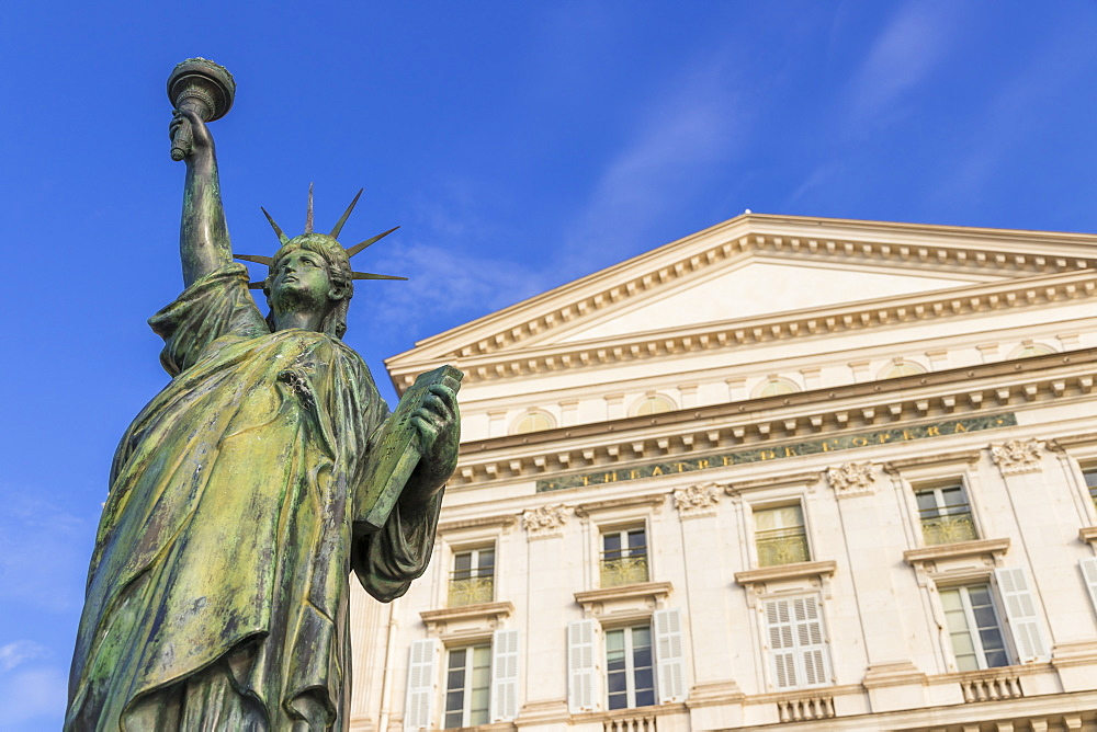 Statue of Liberty Replica at the Opera House, Nice, Cote d'Azur, French Riviera, Provence, France, Mediterranean, Europe - 1283-1006