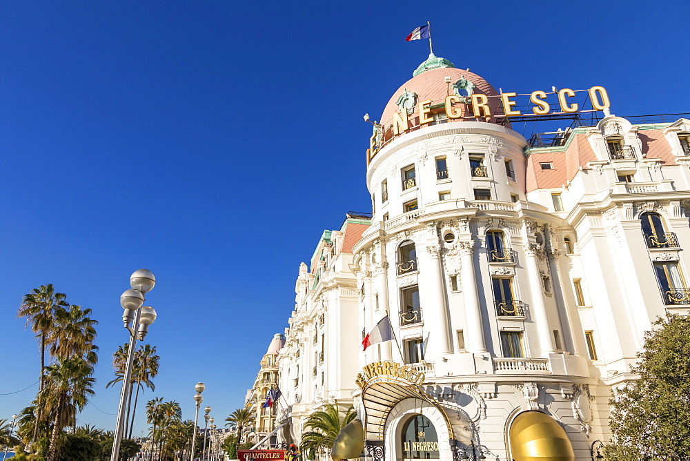 Famous Le Negresco Hotel building at Promenade des Anglais, Nice, Alpes Maritimes, Cote d'Azur, French Riviera, Provence, France, Mediterranean, Europe
