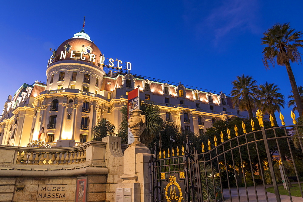 Illuminated Le Negresco Hotel building at dusk, Nice, Alpes Maritimes, Cote d'Azur, French Riviera, Provence, France, Mediterranean, Europe