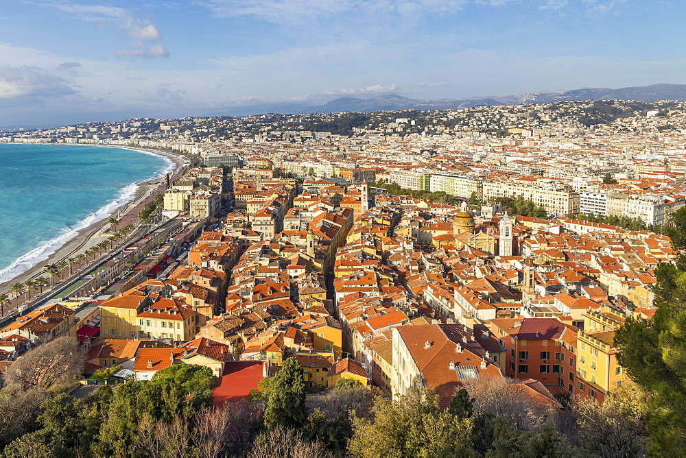View from Castle Hill down to the old town of Nice, Cote d'Azur, French Riviera, France, Europe