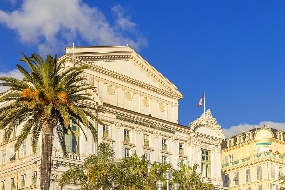 Facade of the Opera House at Promenade des Anglais, Nice, Alpes Maritimes, Cote d'Azur, French Riviera, Provence, France, Europe