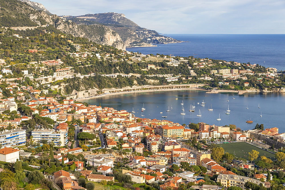 Elevated view from Mont Boron down to Villefranche sur Mer, Cote d'Azur, French Riviera, Provence, France, Mediterranean, Europe