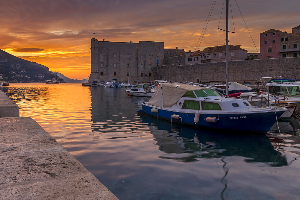 The old port of Dubrovnik at sunrise, Croatia, Europe