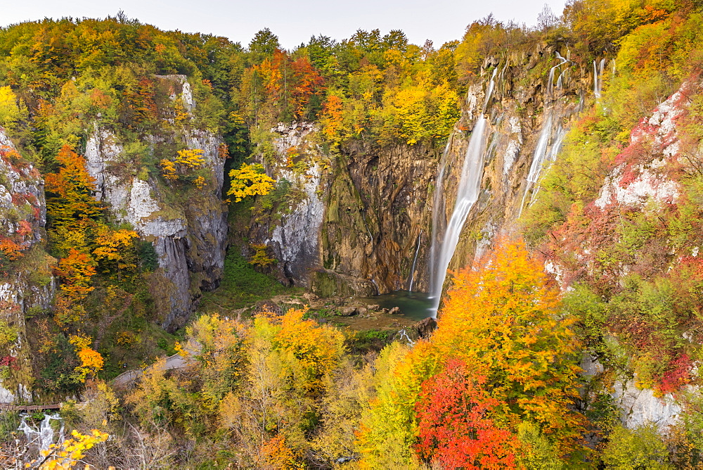 View from a lookout inside Plitvice Lakes National Park over Veliki Slap (Big Waterfall)