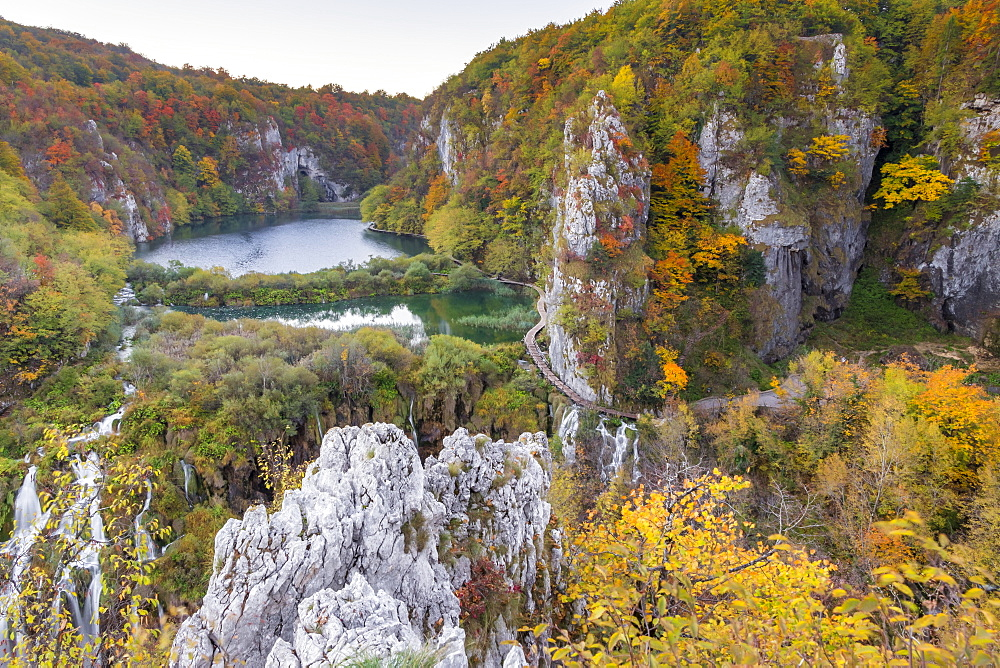 View from a lookout inside Plitvice Lakes National Park over the Lower Lakes, UNESCO World Heritage Site, Croatia, Europe