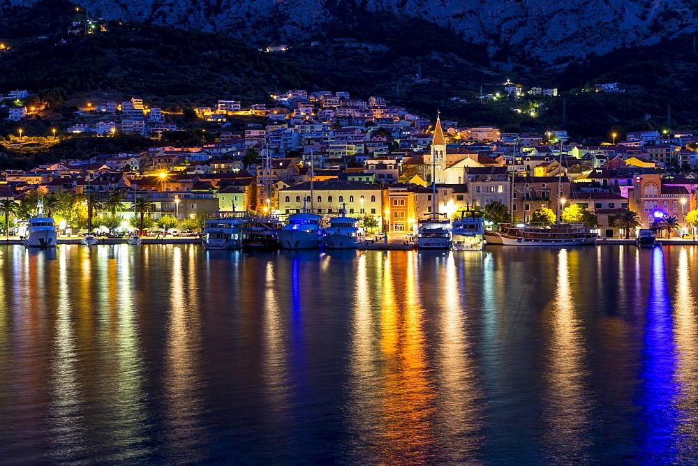 Cityscape of Makarska at dawn