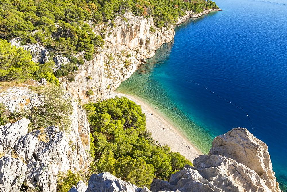 Elevated view over Nugal Beach near Makarska