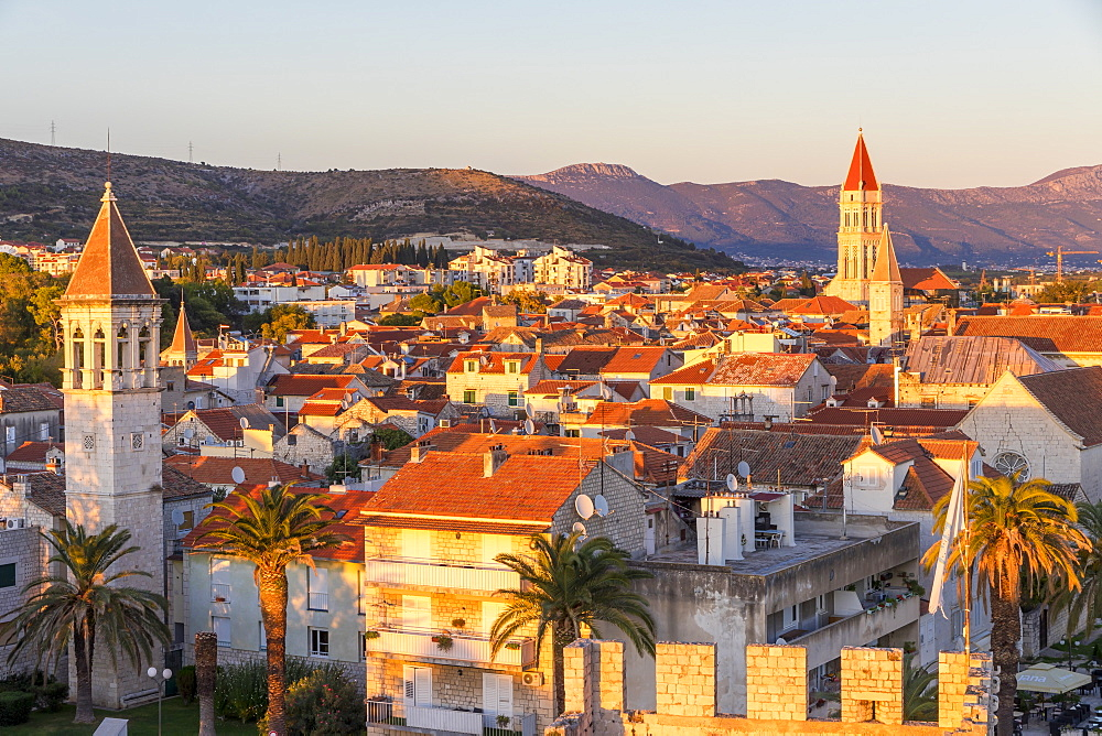 Elevated view from Kamerlengo Fortress over the old town of Trogir at sunset