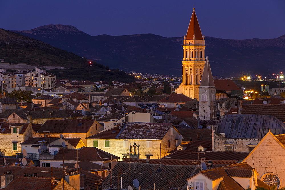 Elevated view from Kamerlengo Fortress over the old town of Trogir at dusk, UNESCO World Heritage Site, Croatia, Europe