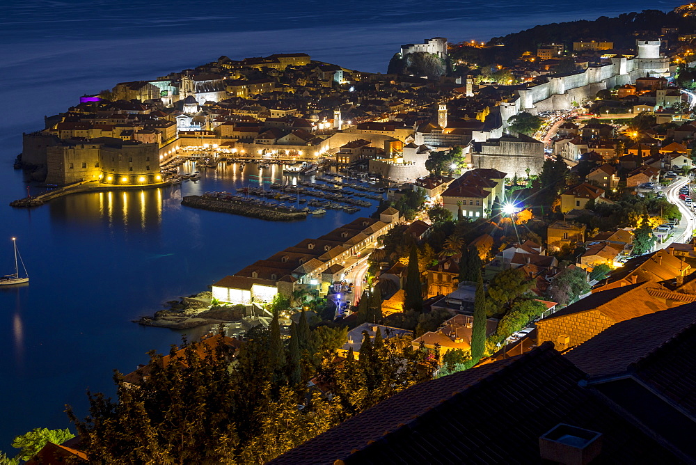 High-angle view over the old town of Dubrovnik at dusk, Croatia, Europe