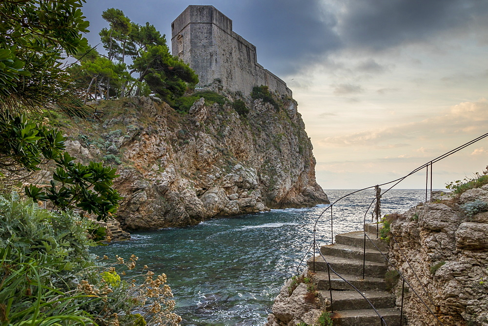 View to the Lovrijenac Fortress (St. Lawrence Fortress) on a stormy day, Croatia, Europe