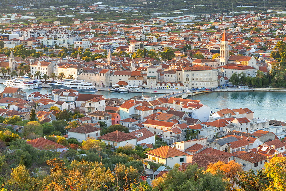 Elevated view over the old town of Trogir at sunset