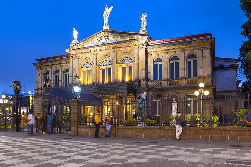 The National Theatre (Teatro Nacional) at dusk, San Jose, Costa Rica, Central America