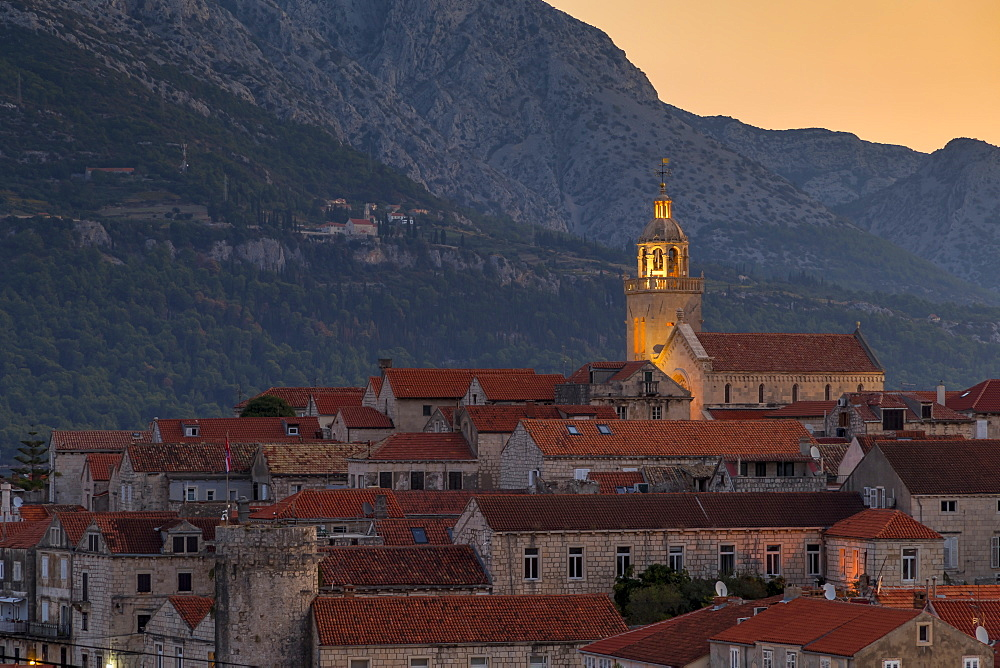 Elevated view over the old town of Korcula Town at dawn, Korcula, Croatia, Europe
