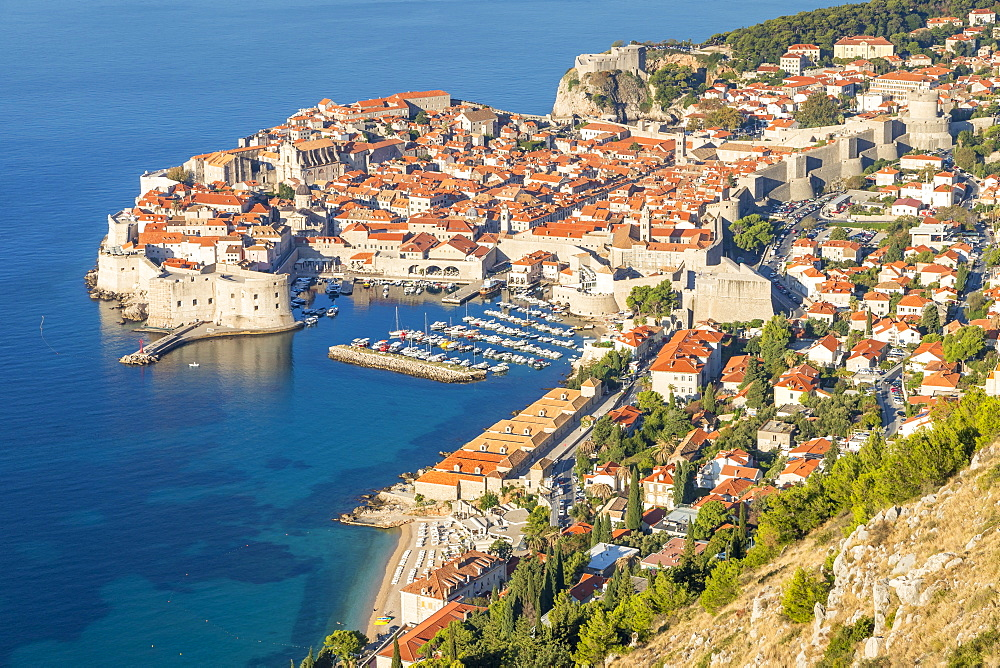 Elevated view over the old town of Dubrovnik, UNESCO World Heritage Site, Croatia, Europe