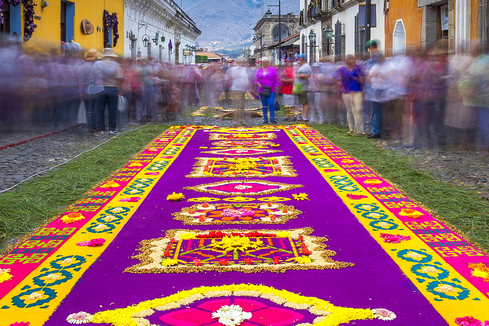 Sawdust carpet for the Good Friday procession during Holy Week 2017 in Antigua, Guatemala, Central America