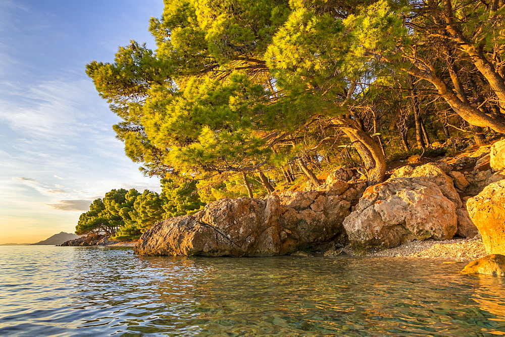 Small beach at Cvitacka near Makarska at sunset