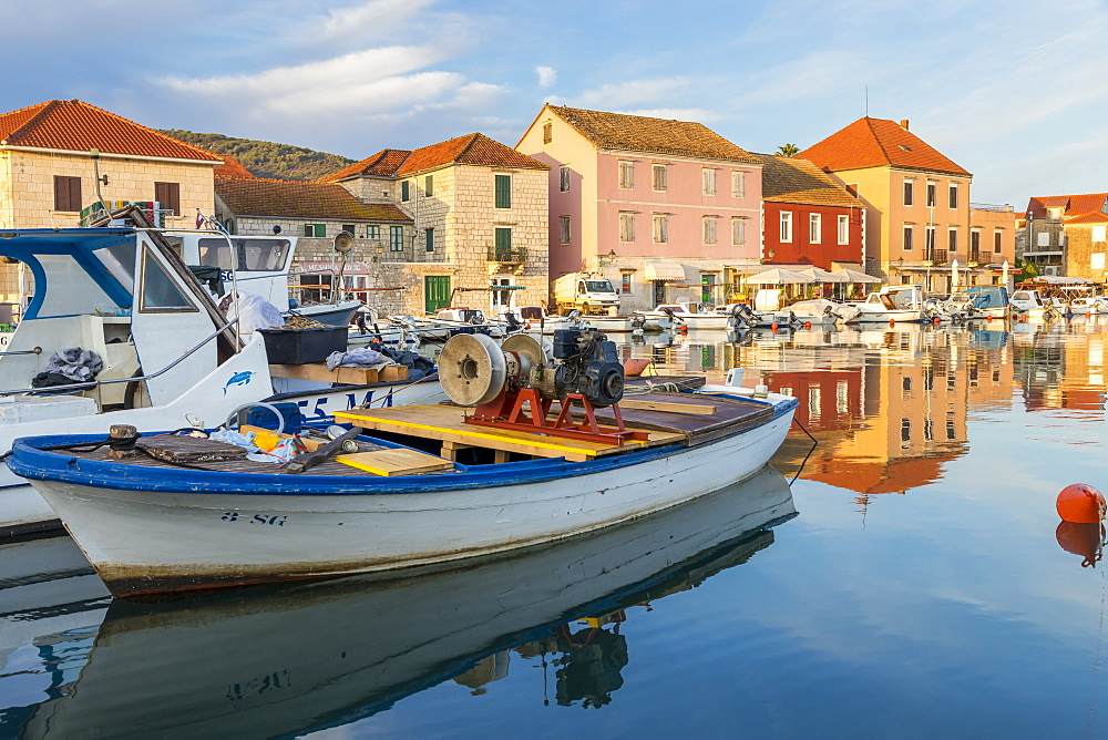 The old port of Stari Grad on Hvar Island, Croatia, Europe