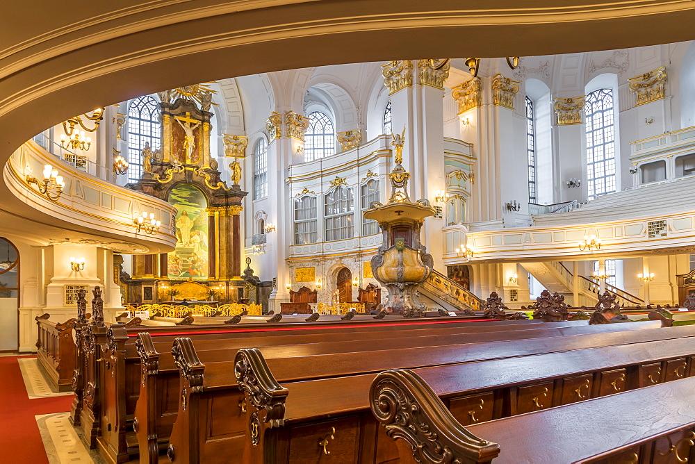 Interior of St Michael's Church, Hamburg, Germany, Europe