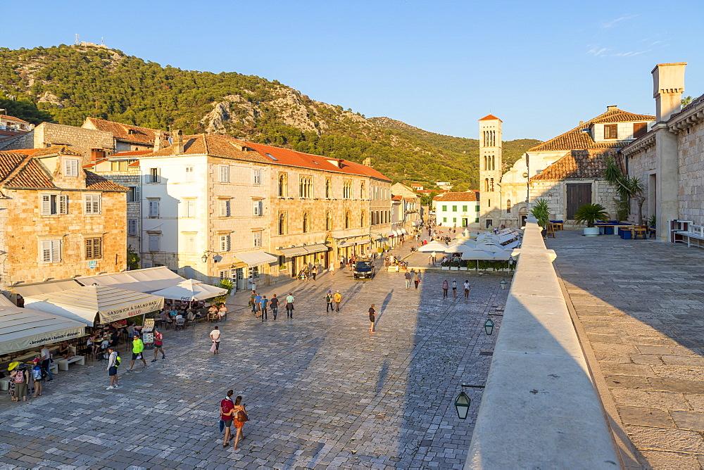 Elevated view over the Svetog Stjepana square in Hvar Town, Hvar, Croatia, Europe