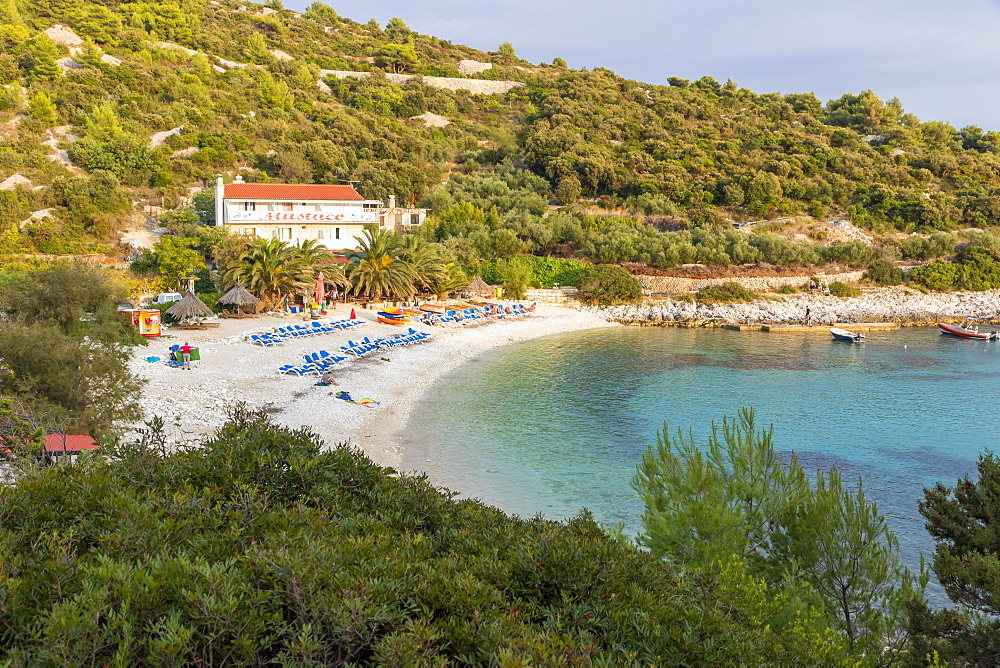 Elevated view over Pokonji Dol Beach near Hvar Town at sunset