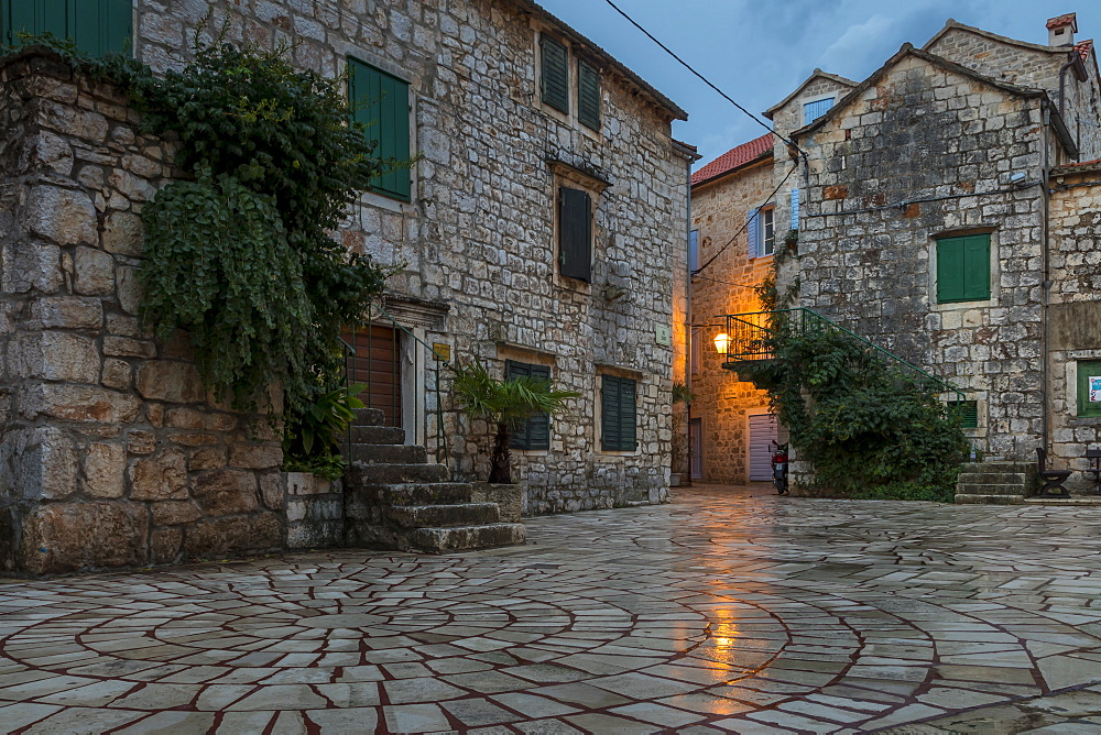 Small square in the old town of Stari Grad on Hvar Island at dawn, Hvar, Croatia, Europe