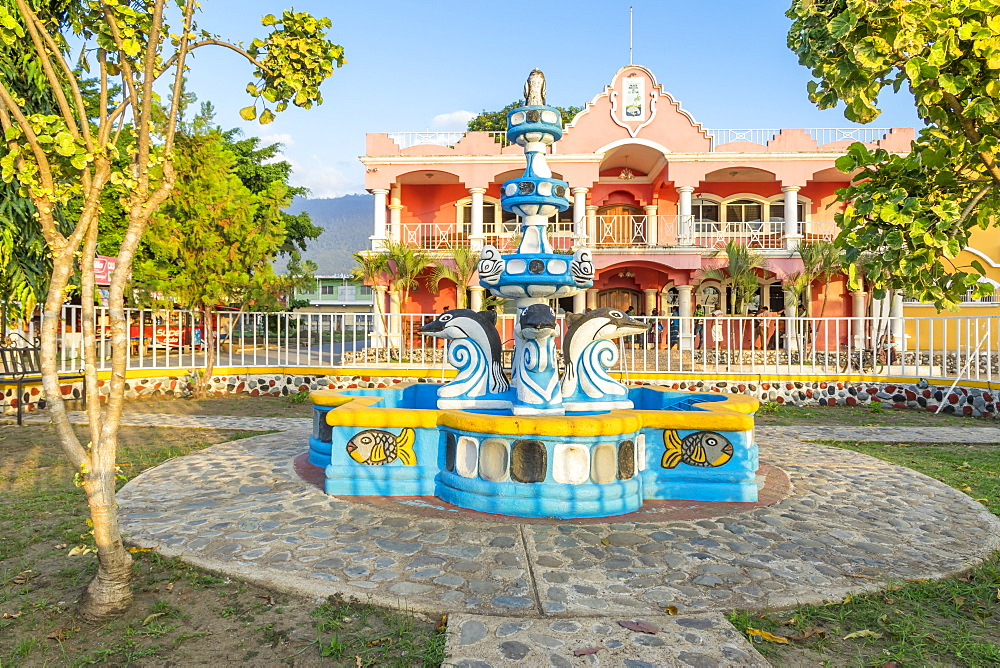 Fountain in front of the town hall of El Estor, Guatemala, Central America