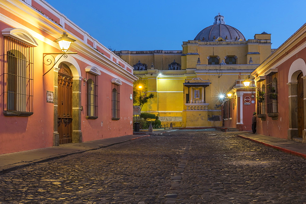 Colonial houses and the La Merced cathedral in Antigua at dawn, Antigua, UNESCO World Heritage Site, Guatemala, Central America