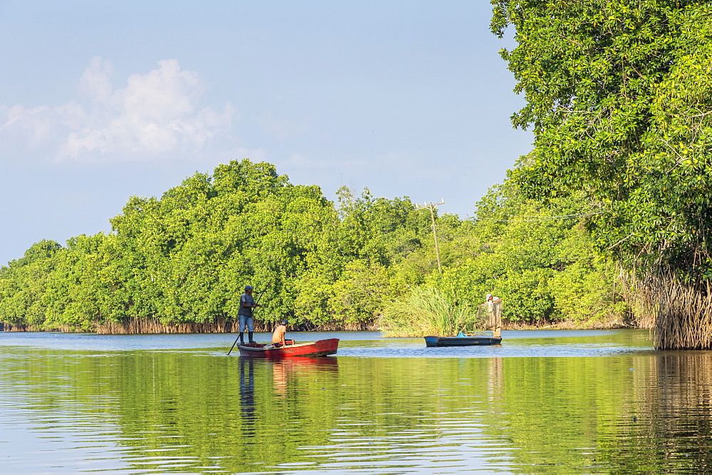 Fishermen in their boats at the mangroves near Monterrico