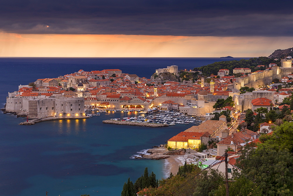 Elevated view over the old town of Dubrovnik at dusk (minutes before the rainfall)
