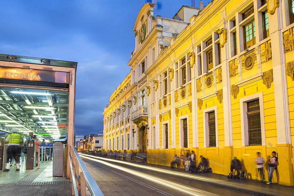 The illuminated Tipografia building at Zona 1 (city centre) in Guatemala City, Guatemala, Central America