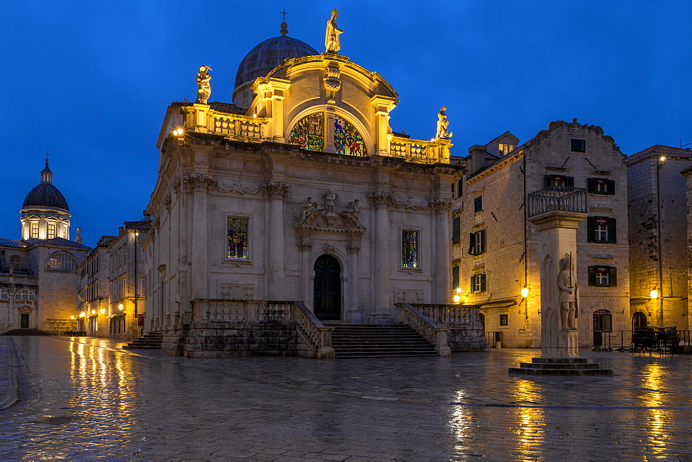 Church of Saint Blaise in the old town of Dubrovnik at dawn, Croatia, Europe