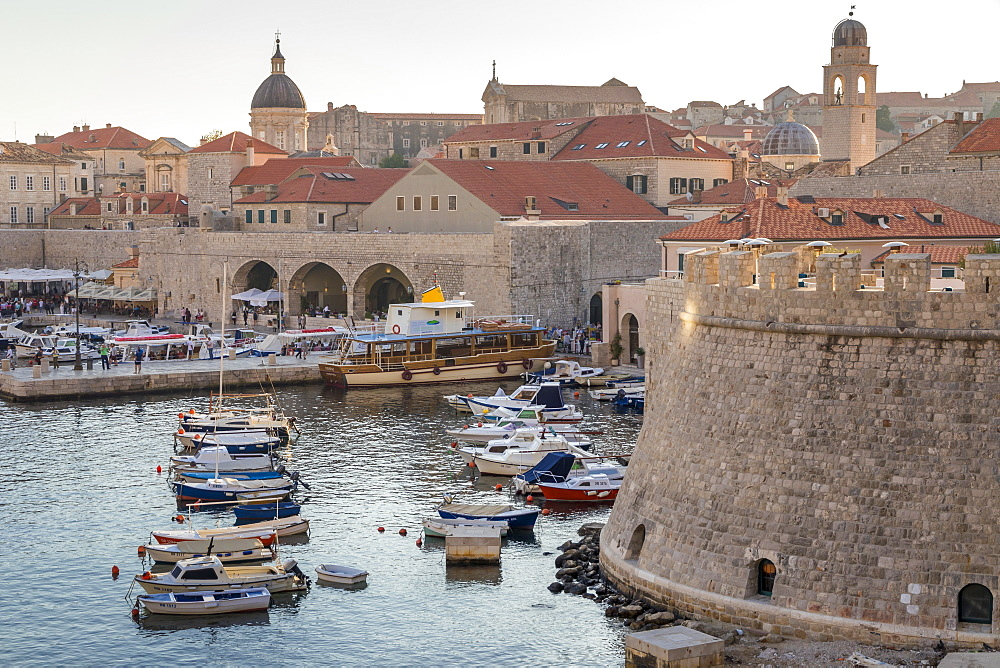 View from the Ploce Gate over the old town of Dubrovnik, UNESCO World Heritage Site, Croatia, Europe