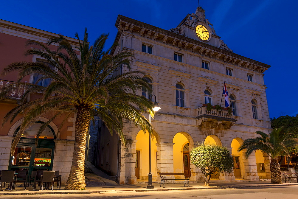 The town hall of Stari Grad on Hvar Island at dawn, Hvar, Croatia, Europe