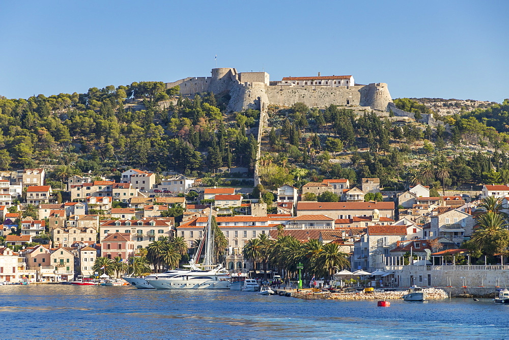 View over the old town of Hvar Town and the Spanish Fortress, Hvar, Croatia, Europe