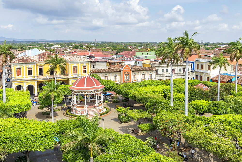 View from the bell tower of the Cathedral of Granada over the main square, Granada, Nicaragua, Central America